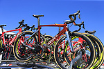 Filippo Pozzato's (ITA) Wilier Triestina-Selle Italia team Wilier bike in retro chromovelato colour scheme atop the team car at Arbatax before the start of Stage 3 of the 100th edition of the Giro d'Italia 2017, running 148km from Tortoli to Cagliari, Sardinia, Italy. 7th May 2017.<br /> Picture: Eoin Clarke | Cyclefile<br /> <br /> <br /> All photos usage must carry mandatory copyright credit (&copy; Cyclefile | Eoin Clarke)