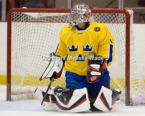 Jhonas Enroth (Sweden/Sodertalje SK - Stockholm, Sweden) - Team Sweden defeated US Team White 4-3 (SO) the late game at the 1980 Rink in Lake Placid, New York, during the Summer Hockey Challenge on Tuesday, August 7, 2007.
