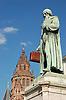 Statue of Gutenberg (1837) by Bertel Thorvaldsen (1770-1844) in Mainz, Rheinland-Pfalz, Germany (Johannes Gensfleisch zur Laden zum Gutenberg,  c. 1400 - 3.2.1468) [the suitcase is not part of the artist's work], in the background Saint Martin Dome<br /> <br /> Monumento a Gutenberg (1837) por Bertel Thorvaldsen (1770-1844) en Maguncia, Rheinland-Pfalz, Alemania (Johannes Gensfleisch zur Laden zum Gutenberg, ca. 1400 - 3.2.1468) [la maleta no es parte de la obra del artista], en el fondo Catedral de San Mart&iacute;n<br /> <br /> Gutenberg-Denkmal (1837) von Bertel Thorvaldsen (1770-1844) in Mainz, Rheinland-Pfalz, Deutschland (Johannes Gensfleisch zur Laden zum Gutenberg, ca. 1400 - 3.2.1468) [der Koffer ist nicht Teil des Kunstwerks], im Hintergrund St. Martin Dom<br /> <br /> orig.: 3008 x 2000 px<br /> 150 dpi: 50,94 x 33,87 cm<br /> 300 dpi: 25,47 x 16,93 cm