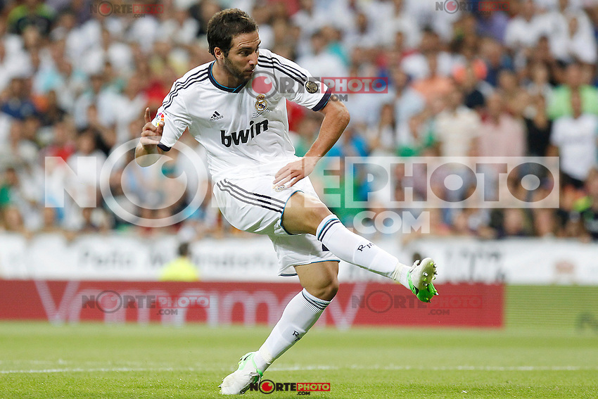 Real Madrid's Gonzalo Higuain goal during Spanish Supercup 2nd match on august 29 2012...Photo: Alex Cid-Fuentes / ALFAQUI /NortePhoto.com<br />