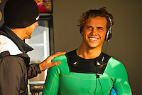 """JEFFREYS BAY, South Africa (Saturday, July 23, 2011) - Andy King (AUS) coaching Julian Wilson (AUS). The Billabong Pro Jeffreys Bay, Event No. 4 of 11 on the 2011 ASP World Title season recommenced this morning with Round 3 at 7:15am in consistent four-to-six foot (1.5 metre) surf.. .After navigating a period of tricky swell, event organizers had been greeted with excellent conditions this morning, opening with Round 3 of competition and following with Rounds 4 and 5.. .""""It's been a lengthy wait but we're excited to have such good surf on offer today and will be making the most of it,"""" Rich Porta, ASP International Head Judge, said. .Surfline, official forecasters for the Billabong Pro Jeffreys Bay, are calling for a solid SSW push through the day.. .  Photo: joliphotos.com"""