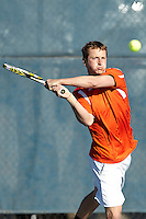SAN ANTONIO, TX - FEBRUARY 8, 2014: The St. Edward's University Hilltoppers versus the University of Texas at San Antonio Roadrunners Men's Tennis at the UTSA Tennis Center. (Photo by Jeff Huehn)