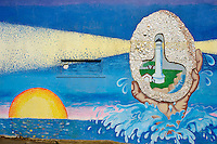 California, Point Arena, Mural of lighthouse