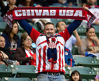CARSON, CA - April 21, 2012: Chivas fan during the Chivas USA vs Philadelphia Union match at the Home Depot Center in Carson, California. Final score Philadelphia Union 1, Chivas USA 0.