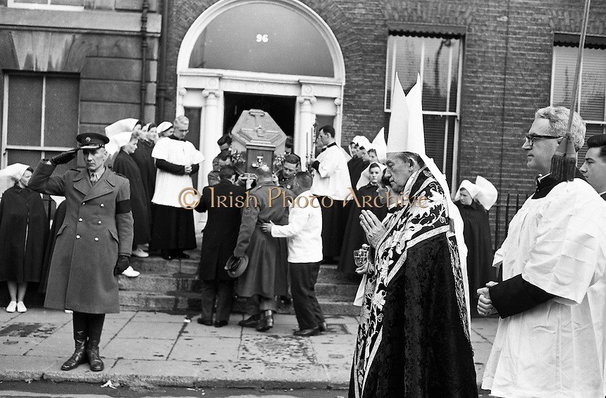 The remains of Cardinal D&rsquo;Alton leave St Vincent&rsquo;s Nursing Home, Dublin, borne by members of  the defence forces. Dr John Charles Mc Quaid, Archbishop of Dublin (in mitre), blessed  the coffin as it was taken to the hearse. The cardinal was buried in St Patrick&rsquo;s Cathedral, Armagh. .02.02.1963