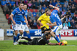 St Johnstone v Alashkert FC...09.07.15   UEFA Europa League Qualifier 2nd Leg<br /> Steven MacLean is denied by Gevorg Kasparov<br /> Picture by Graeme Hart.<br /> Copyright Perthshire Picture Agency<br /> Tel: 01738 623350  Mobile: 07990 594431