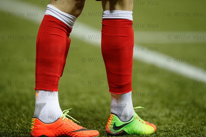Rangers socks cut in half worn with white sports socks
