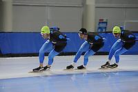 SCHAATSEN: SALT LAKE CITY: Utah Olympic Oval, 13-11-2013, Essent ISU World Cup, training, Bram Smallenbroek (AUT), Tyler Derraugh (CAN), Frank Hermans, ©foto Martin de Jong