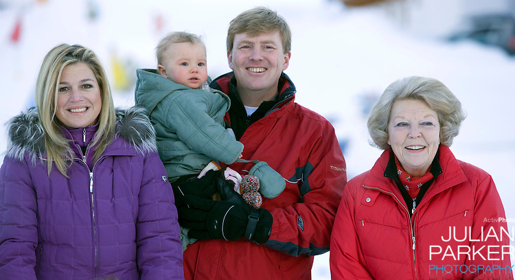 Queen Beatrix of Holland, Crown Prince Willem Alexander, and Crown Princess Maxima of Holland with Daughter Princess Ariane attend a Photocall with Members of The Dutch Royal Family during their Winter Ski Holiday in Lech Austria