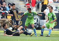 Stefani Miglioranzi #6 of the Philadelphia Union slides into James Riley #7 of the Seattle Sounders FC during the first MLS match at PPL stadium in Chester, Pa. on June 27 2010. Union won 3-2.