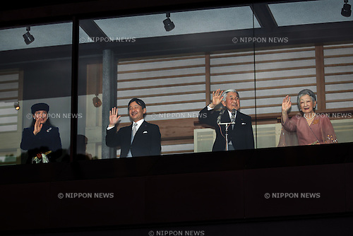 December 23, 2012, Tokyo, Japan - Emperor Akihito waves to a throng of well-wishers from behind the bullet-proof glass panel of the Imperial Palace balcony in Tokyo on Sunday, December 23, 2012. More than 20,000 well-wishers turned out to the palace, celebrating the 79th birthday of the monarch, who said in his statement that he's concerned about the country's aging population. With Akihito are, from left: Princess Masako; Crown Prince Naruhito; Akihito and Empress Michiko. (Photo by AFLO) UUK -mis-