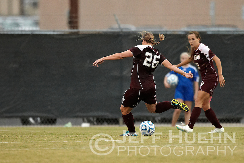 SAN ANTONIO, TX - NOVEMBER 6, 2011: The 2011 Big 12 Conference Women's Soccer Championship Game featuring the Oklahoma State University Cowgirls vs. Texas A&amp;M University Aggies at the Blossom Soccer Stadium. (Photo by Jeff Huehn)
