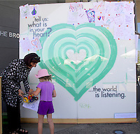 "Guests participate in an interactive art installation by Petra Eiko entitled, ""The Green Heart""  during  The Broad Stage's 5th year anniversary celebration on Saturday, September 1, 2012."