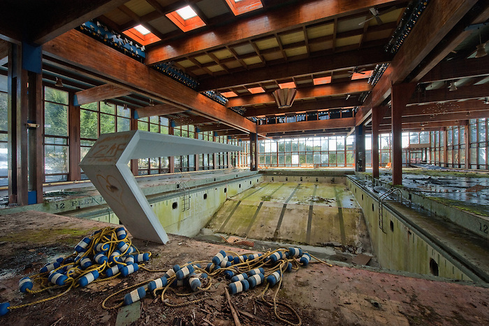 The Empty Pool and Diving Board of The Abandoned Grossinger's Resort