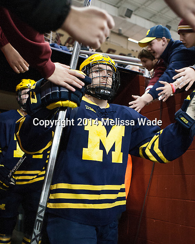 Travis Lynch (Michigan - 20) - The Boston College Eagles defeated the visiting University of Michigan Wolverines 5-1 (EN) on Saturday, December 13, 2014, at Kelley Rink in Conte Forum in Chestnut Hill, Massachusetts.