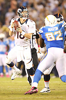 10/15/12 San Diego, CA: Denver Broncos quarterback Peyton Manning #18 during an NFL game played between the San Diego Chargers and the Denver Broncos at Qualcomm Stadium. The Broncos defeated the Chargers 35-24.