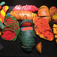 Artwork using bread baked with food coloring by the French artist Dorothée Selz at an exhibition at the French Cheese Board in New York on Thursday, November 12, 2015.  (© Richard B. Levine)
