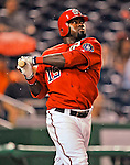 21 June 2008: Washington Nationals' infielder Cristian Guzman at bat against the Texas Rangers at Nationals Park in Washington, DC. The Rangers defeated the Nationals 13-3 in the second game of their 3-game inter-league series...Mandatory Photo Credit: Ed Wolfstein Photo