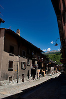 Impression of the commune and ski resort Cesana Torinese in the Piedmont region (Italy, 21/06/2010)