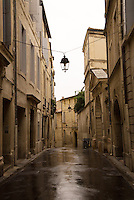 A street in the old city on a rainy day, Montpellier, France