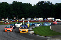 LEXINGTON, OH - JUNE 7: Bobby Rahal (#8) starts from the pole position alongside Al Unser, Jr. (#10) in Round 2 of the 1986 IROC series on June 7, 1986, at the Mid-Ohio Sports Car Course near Lexington, Ohio.