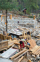 Nepal. Himalayas Sherpa men build several houses in the village of Nyanbua Thyang, Solukhumbu remote near Mt Everest   60