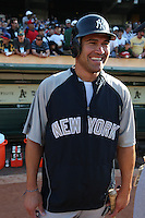 OAKLAND, CA - AUGUST 17:  Johnny Damon #18 of the New York Yankees gets ready to take batting practice before the game against the Oakland Athletics at the Oakland-Alameda County Coliseum on August 17, 2009 in Oakland, California. Photo by Brad Mangin