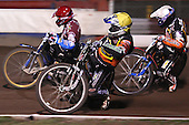 Heat 10: Joe Screen (yellow), Nicolai Klindt (white) and Krzysztof Kasprzak (red) - Lakeside Hammers vs Wolverhampton Wolves, Elite Shield Speedway at the Arena Essex Raceway, Purfleet - 26/03/10 - MANDATORY CREDIT: Rob Newell/TGSPHOTO - Self billing applies where appropriate - 0845 094 6026 - contact@tgsphoto.co.uk - NO UNPAID USE.