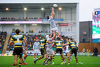 David Sisi of Bath Rugby rises high to win lineout ball. Aviva Premiership match, between Northampton Saints and Bath Rugby on September 3, 2016 at Franklin's Gardens in Northampton, England. Photo by: Patrick Khachfe / Onside Images