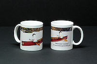 "Coffee mug with ""Whitewater Canoeing"" wraparound image, approx. 12 oz. capacity"