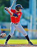 8 July 2012: State College Spikes catcher Ryan Hornback in action against the Vermont Lake Monsters at Centennial Field in Burlington, Vermont. The Spikes fell to the Lake Monsters 8-2 in NY Penn League action. Mandatory Credit: Ed Wolfstein Photo
