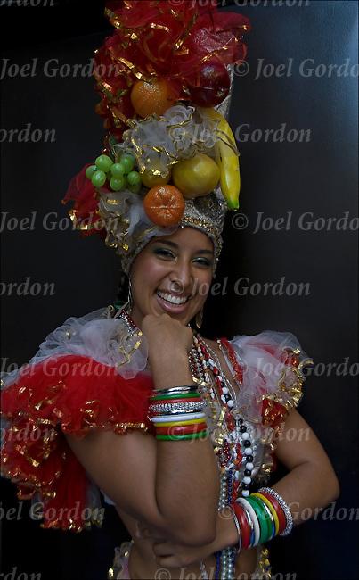 Brazilian pride, Carmen Miranda dancer at Lavagem da Rua 46, the ...