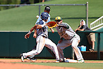 02 June 2016: Nova Southeastern's Jancarlos Cintron-Torres (left) beats a pickoff tag attempt by Cal Poly Pomona's Nic Hernandez (17) back to first base. The Nova Southeastern University Sharks played the Cal Poly Pomona Broncos in Game 11 of the 2016 NCAA Division II College World Series  at Coleman Field at the USA Baseball National Training Complex in Cary, North Carolina. Nova Southeastern won the semifinal game 4-1 and advanced to the championship series.
