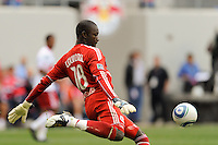 New York Red Bulls goalkeeper Bouna Coundoul (18). The New York Red Bulls defeated the Philadelphia Union 2-1 during a Major League Soccer (MLS) match at Red Bull Arena in Harrison, NJ, on April 24, 2010.