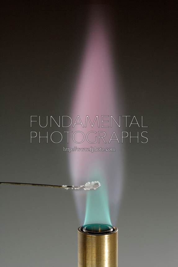 POTASSIUM FLAME TEST (KCl)<br /> Lilac Flame Shows Presence Of Lithium (Alkali metal) Potassium compound is dissociated by flame into gaseous atoms, not ions. The atoms of the element are raised to excited state by high temperature of flame. Excess energy from the atom is emitted as light of a characteristic wavelength.