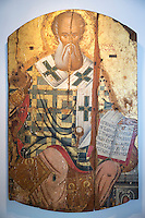 Ornate Greek Orthodox religious iconic painting of saints in gallery at Paleokastritsa Monastery in Corfu, , Greece