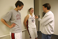 2 November 2006: Stanford Cardinal Brooke Smith (left), Stanford Cardinal JJ Hones (center), and The Bootleg reporter Mike Eubanks during Stanford's 103-57 win against Chico State Wildcats at Maples Pavilion in Stanford, CA.