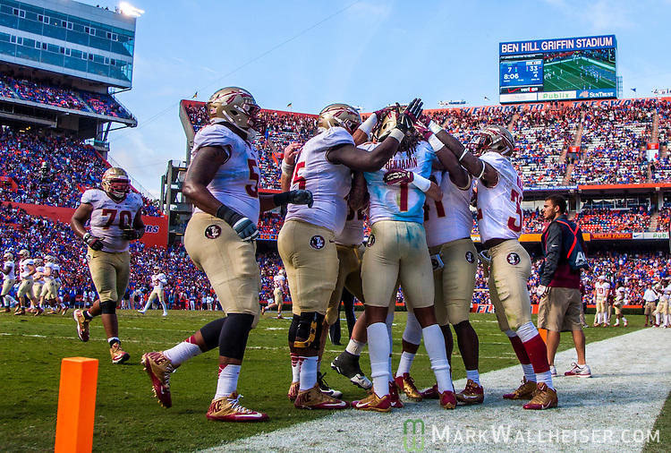 FSU teammates congratulate Kelvin Benjamin after his 4th quarter touchdown during the #2 ranked Florida State Seminoles 37-7 victory over the Florida Gators at Ben Hill Griffin Stadium in Gainesville, Florida November 30, 2013.  Florida State had an undefeated regular season at 12-0.