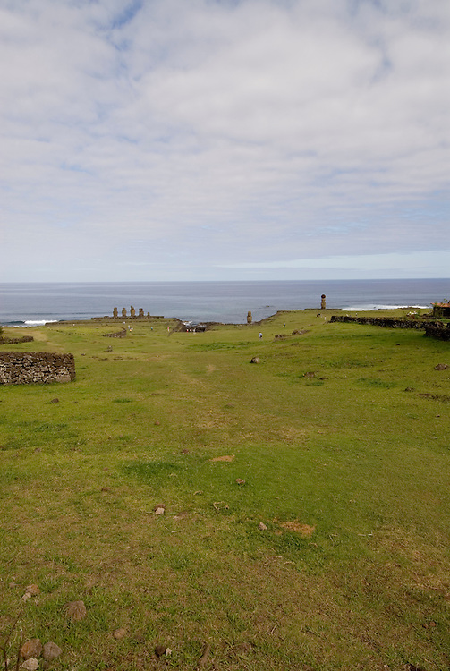 Chile, Easter Island: Wide angle view of historic village called Ahu Tahai, near Hanga Roa..Photo #: ch233-33589..Photo copyright Lee Foster www.fostertravel.com lee@fostertravel.com 510-549-2202