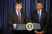 Richard Cordray (L) delivers remarks beside United States President Barack Obama (R), at the Consumer Financial Protection Bureau in Washington DC, USA, on 06 January 2012. Obama placed Richard Cordray as head of the Consumer Financial Protection Bureau with a recess appointment 04 January 2012. Republicans in the Senate had blocked Cordray's confirmation in December 2011..Credit: Michael Reynolds / Pool via CNP