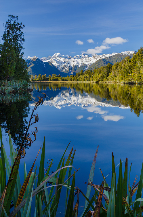 Lake Matheson, Westland National Park, South Island, New Zealand - stock photo, canvas, fine art print