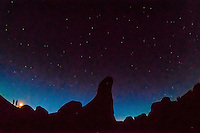 Silhouette of rock formations with a starry sky above, Goblin Valley State Park, near Hanksville, Utah, USA