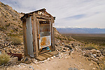 One-holer outhouse, Minnietta Mine, Argus Range overlooking the Panamint Mountains and Valley of Calif.