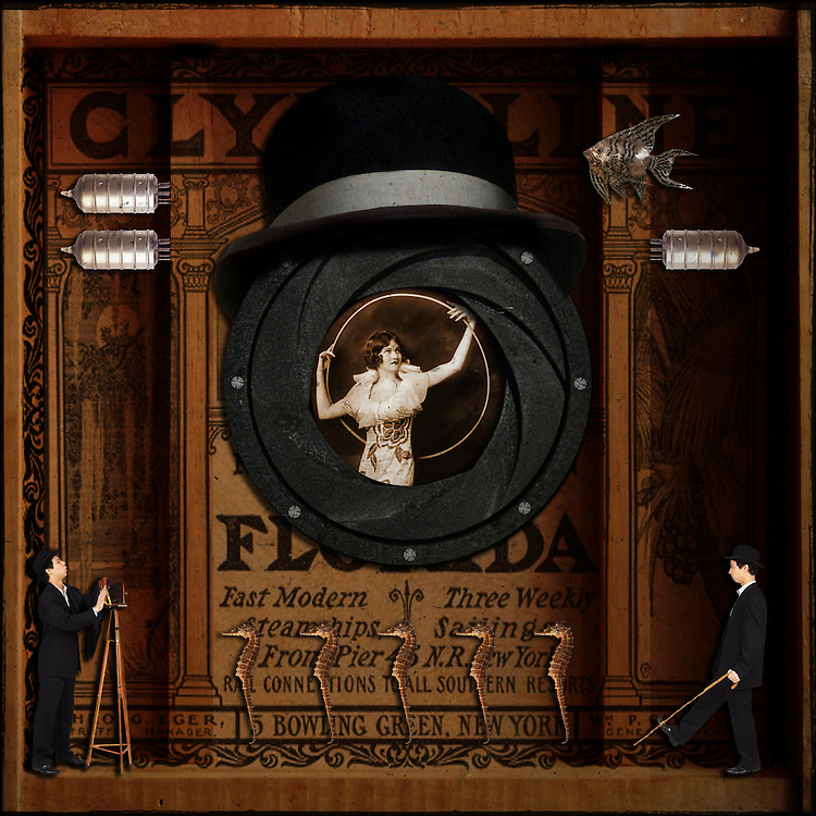 A surreal assemblage, à la Joseph Cornell, of a woman posing with a hoop, framed by an early camera iris.