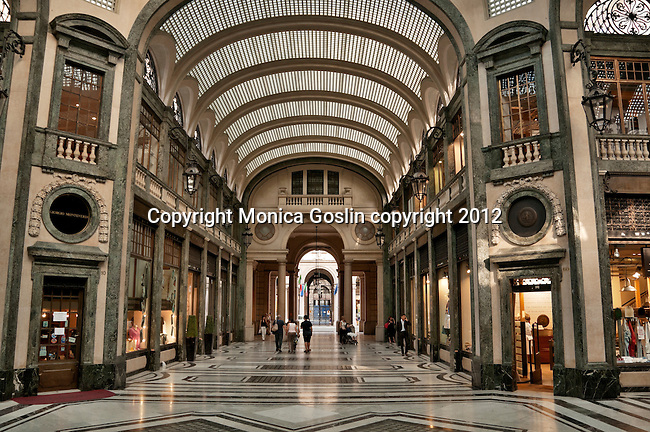 A covered arcade in Turin, Italy just off of the Piazza Castello and lined with shops and restaurants