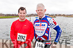 Adrian O'Connor (Castlegregory) and Paul Knightly (Tralee), pictured at the Valentines 10 mile road race in Tralee, on Sunday morning last.