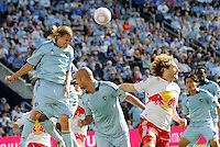 Sporting KC defender Chance Myers heads the ball clear... Sporting Kansas City defeated New York Red Bulls 2-1 at LIVESTRONG Sporting Park, Kansas City, Kansas.