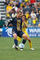 24 OCTOBER 2010:  Philadelphia Union forward Alejandro Moreno (15) is defended by Columbus Crew defender Frankie Hejduk (2) during MLS soccer game at Crew Stadium in Columbus, Ohio on August 28, 2010.
