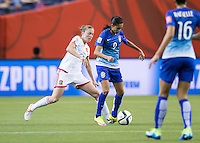Montreal - June 13, 2015:  Brazil (blue) beat Spain (white) 1-0 in a Women's World Cup match at the Olympic Stadium.