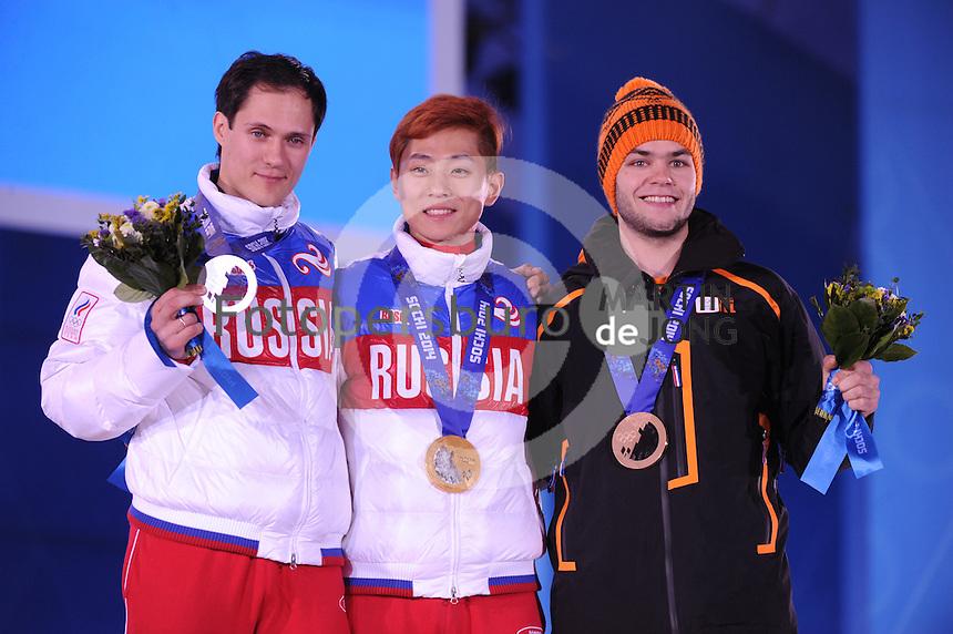 OLYMPICS: SOCHI: Medal Plaza, 15-02-2014, Short Track, Men's 1000m, Vladimir Grigorev (RUS), Victor An (RUS), Sjinkie Knegt (NED), ©photo Martin de Jong